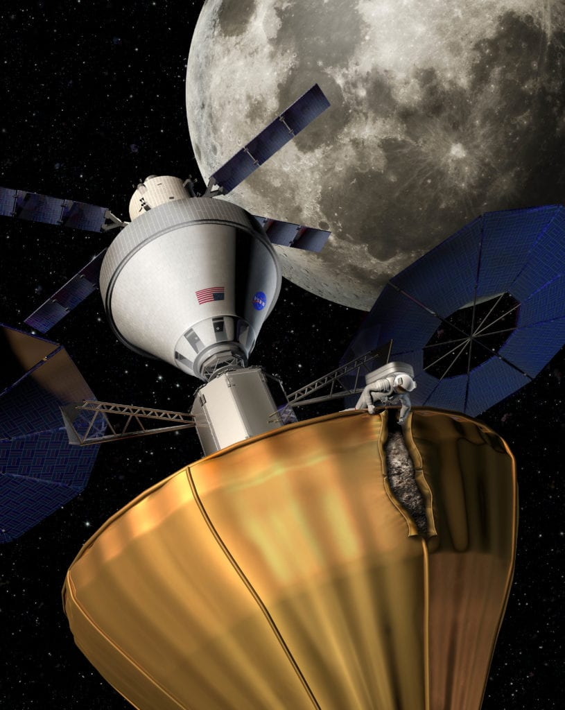 The Asteroid Redirect Mission (ARM) is working to capture a near Earth asteroid by the middle of the next decade. To do so, they are developing several different designs, one of which is a balloon like capture mechanism put into place with a spacecraft like Orion. It could then be docked by an astronaut for further study in space, or brought back to Earth for further study or use. An astronaut extracts a sample from a secured asteroid in a close orbit to Earth with the moon in the background. This art was created for Science News magazine's cover and interior infographic. NASA is developing 2 different potential spacecraft to capture asteroids. This art was created by building 3d models in Cinema4d and compositing and painting in Photoshop.