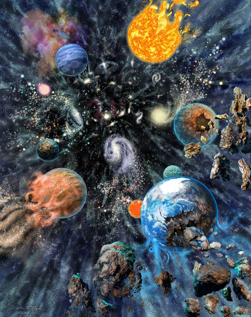 """Big Rip End to the Universe, In one end-time scenario, known as the """"big rip"""", dark energy's continual growth leads to all of the universe tearing apart, beginning with galaxy clusters, galaxies, then stars and planets (like Earth), and finally the individual atoms and particles that make up matter itself."""