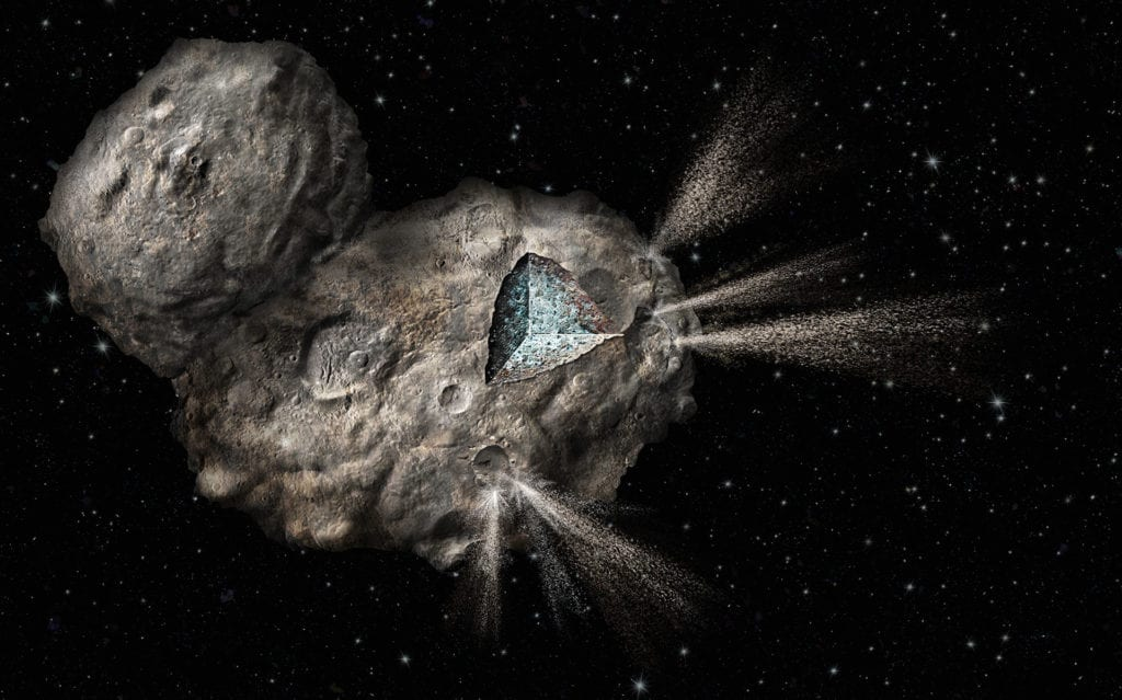 An artists rendering of the rosetta comet, showing a cross-section of the pockets of gas and ice just beneath its surface. Jets of gas and dust are emitted as the sun causes sublimation of the ice (solid to gas phase change). To create this art a 3d model was created based on initial photographs of the comet, showing it's 'rubber ducky' like shape, and further painted in Photoshop to accentuate the pock-marked surface of craters.