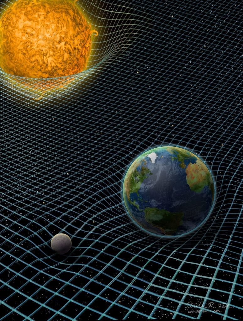 Einstein's theory of relativity helped create a framework for undersrtand the physical landscape of gravity—a place where large objects warp the surrounding space around them. The Earth's gravity holds the moon orbiting it, while the Sun holds the planets to it. Created for Science News magazine