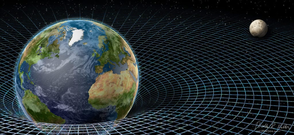 Einstein's theory of relativity helped create a framework for undersrtand the physical landscape of gravity—a place where large objects like Earth warp the surrounding space around them. Created for Science News magazine
