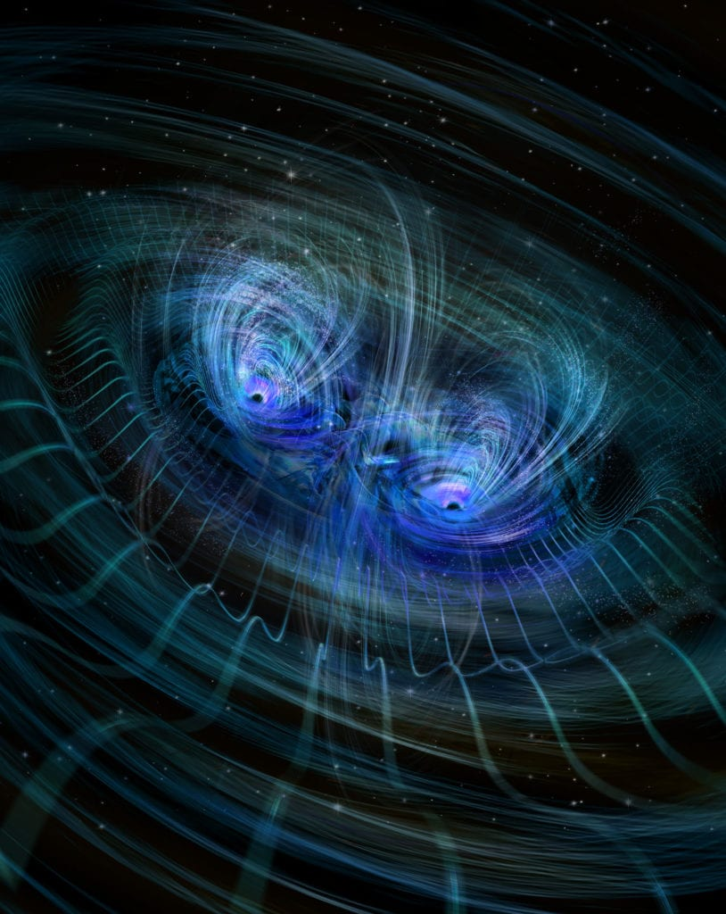 Two massive black holes colliding, instants before merging into one giant. One hundred years ago Enstein predicted gravity waves existence. The Laser Interferometer Gravitational-wave Observatory (LIGO) made a direct observation of the waves for the first time in 2016. The twin observatories located 1865 mi (3km) apart in Louisiana and Washington state are so precise, that they were able to measure slight distortions created by incoming gravity waves emanating from a massive black hole collission 1.3 billion years away.