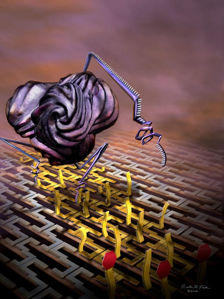 This 3d artwork depicts scientists' results creating self-assembled nanobots composed of biological components (proteins) that walk along tracks of DNA on an origami framework. The track of DNA is clipped by the bot as it walks, so that it can only go in one direction.