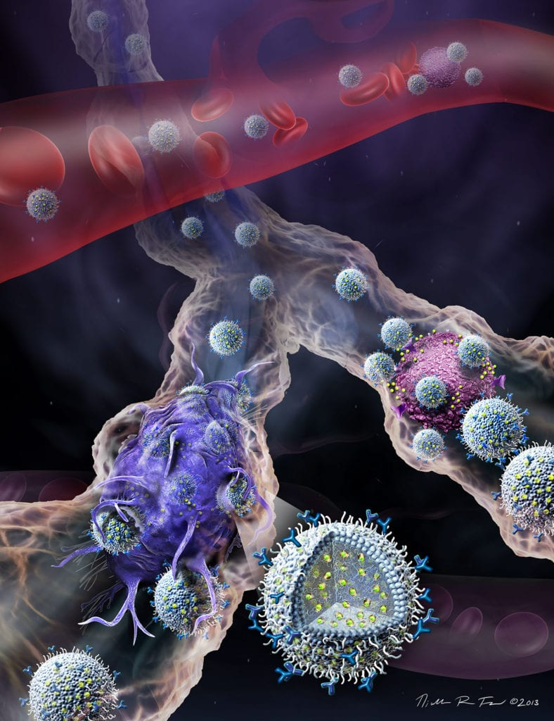 Nanosphere Disease Treatment, Nanospheres show much promise to treat autoimmune diseases like lupus, multiple scleorsis and Type 1 diabetes. This artwork shows the nanospheres interacting with immune cells in the lymph vessels.