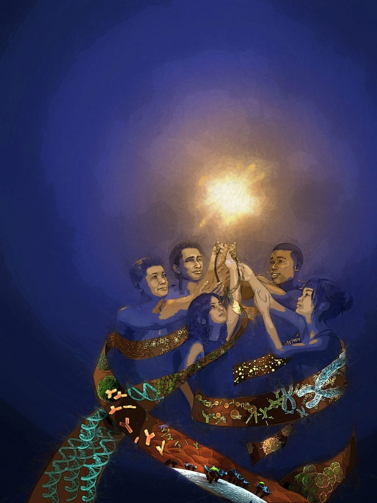 Science Health Equity Illustration showing diverse women and men (african american, latino, native american, indian, asian) reaching toward light, surrounded by dna and cells. by Nicolle R. Fuller