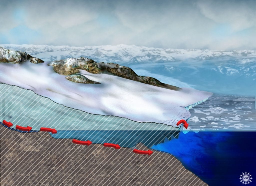 Glacier Melt science geology illustration of the glacier's lip extending over the water. By Nicolle R. Fuller, SayoStudio