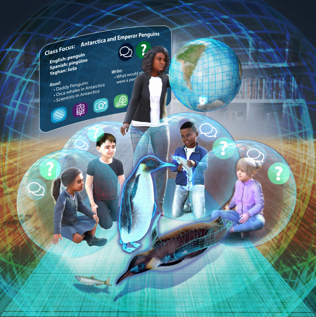 Illustration of virtual classroom with diverse kids learning about penguins in Antarctica by Nicolle R. Fuller