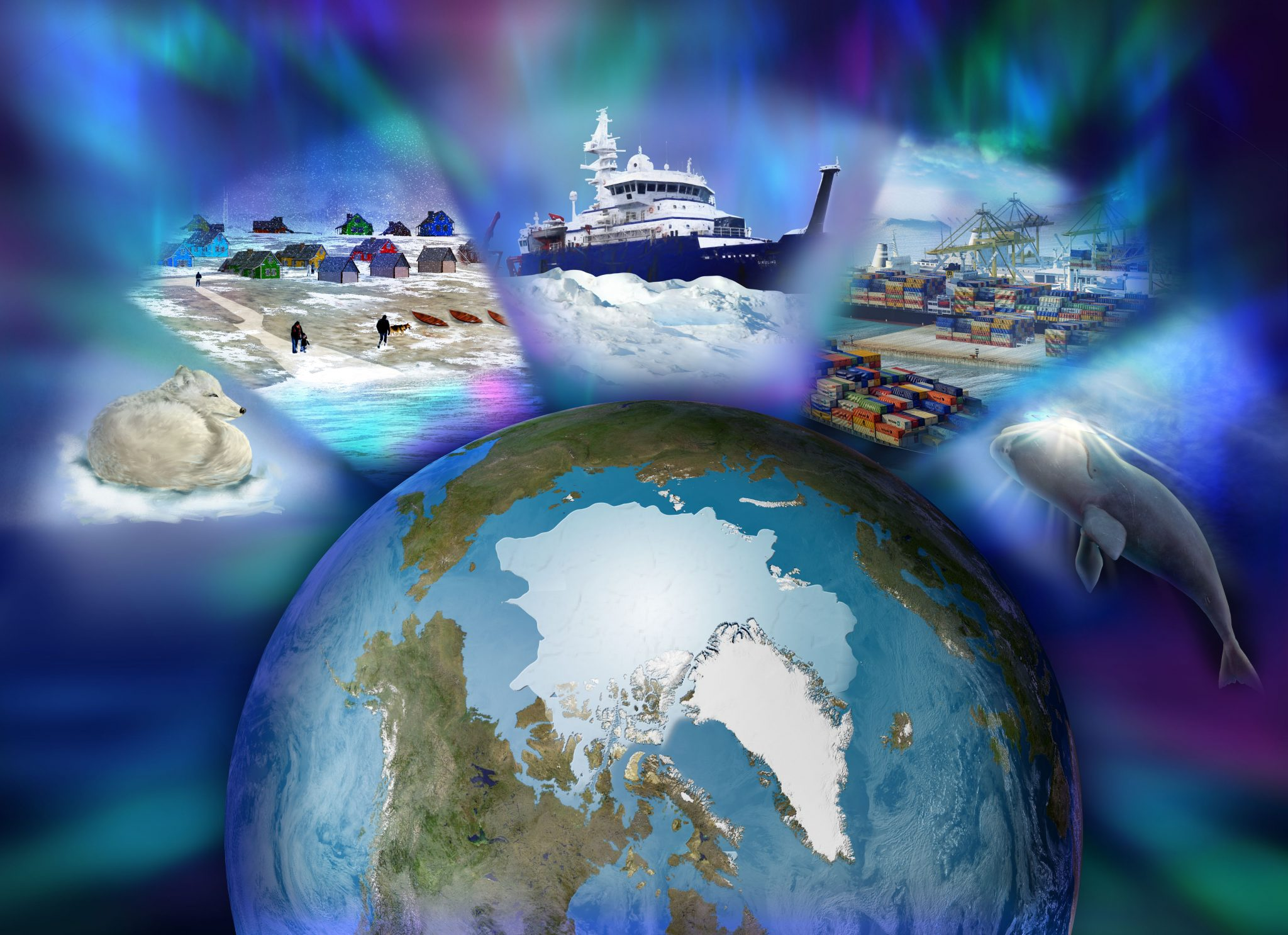 Science illustration of NSF research in the Arctic, by Nicolle R. Fuller, SayoStudio
