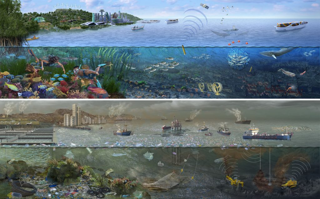 The Future of Our Oceans, and illustrated look at ocean ecology. Top, sustainable energy use and healthy corals and whales, or below, plastic polluted, overfished ocean. By Nicolle R. Fuller, Sayostudio