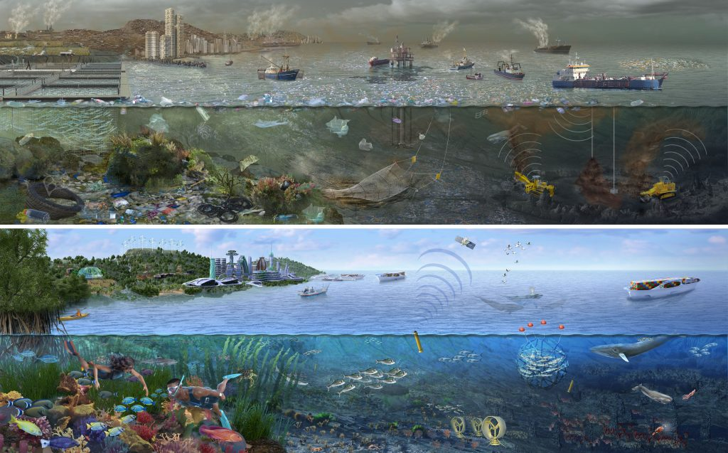 Ocean Pollution Ecosystem Science Illustration by Nicolle R. Fuller, SayoStudio