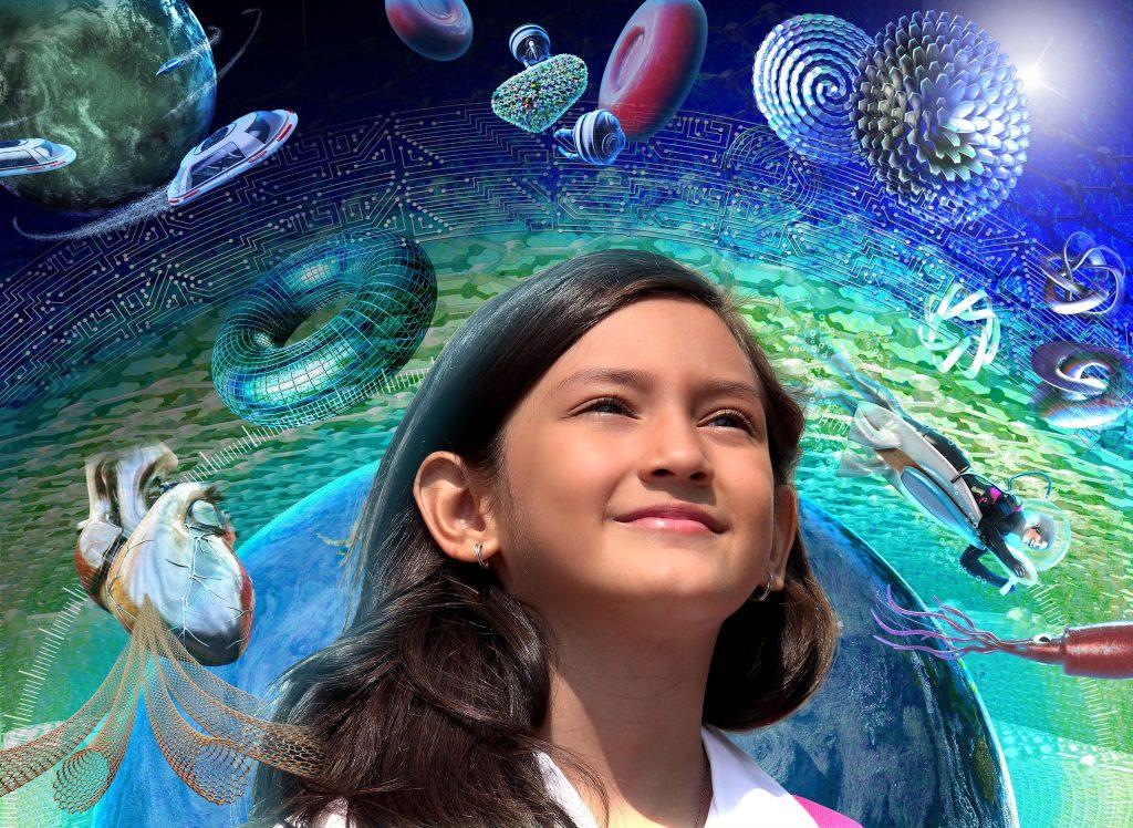 Girls in STEM science illustration created for NSF, by Nicolle R. Fuller, SayoStudio