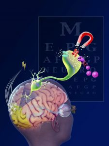 How to Find a Visual Science Communicator, Woman with brain and neuron being controlled by gene therapy magnet, illustration by Nicolle R. Fuller, SayoStudio