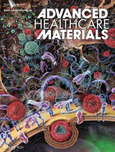 Brain neurology targeted drug deliver nanosphere scientific illustration for Healthcare Materials journal cover, by Nicolle R. Fuller, SayoStudio