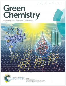 Green Chemistry science journal cover art hydrogen battery engery storage illustration by Nicolle R Fuller