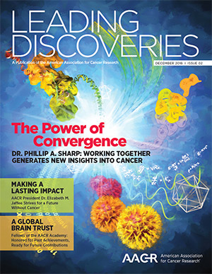 AACR cancer research Leading Discoveris cover art by Nicolle R. Fuller, SayoStudio