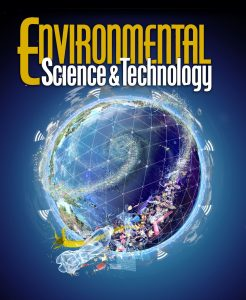 Environmental Science & Technology scientific journal cover - World plastic pollutino sensor network surrounding Earth editorial science cover art, by Nicolle R. Fuller SayoStudio.