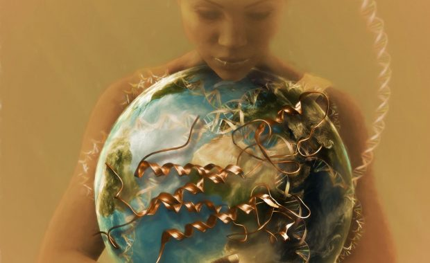 Illustration showing woman holding globe, with a focus on Africa and the growth factor protein.