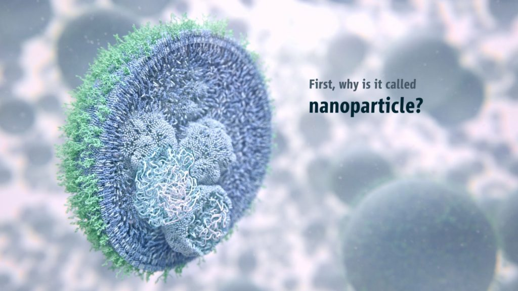 Why is the mRNA vaccine nanoparticle called that? What is a nanoparticle illustration showing lipids and mRNA